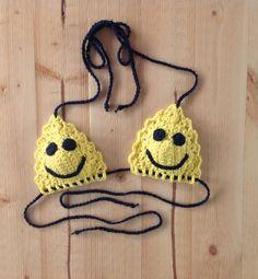 Sunshine Yellow Smiley Face Open Stitch Crochet Bikini Top