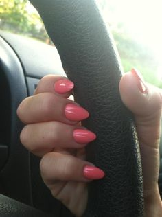 Coral Almond Nails