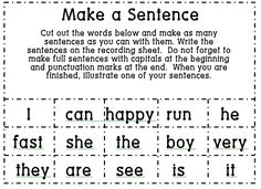 Sight Word Work meets Sentence Work--Amp it up with some blank square for kids to put their own words, or, differentiate it with various word levels.