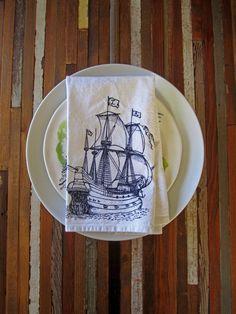 Organic Cotton Nautical Cloth Napkins - Handmade - Eco Friendly Dinner Napkins - Screen Printed - Pirate Ship - Table Linens