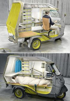 'bufalino' by industrial designer cornelius comanns is a small camper which is equipped to meet the basic needs of one person. the concept behind the project is to offer absolute flexibility during periods of travel. the minimalist construction is based on the existing piaggio APE 50 three wheeled light transport vehicle; a model chosen for its economic and fuel efficient benefits. more complex structural components such as the frame, the chassis, and engine are derived from the piaggio.