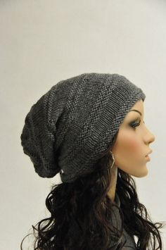 Hand knit hat woman hat man hat charcoal wool hat slouchy hat-ready to ship