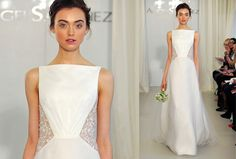 Angel Sanchez's A-line gown with tulle overlay has floral cut-out embroidery on the sides and back.