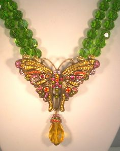 "Heidi Daus ""Madame Butterfly"" Two Row Beaded Drop Necklace 