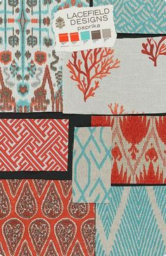 Textile Tuesday: Paprika Mood Board from Lacefield Designs #ikat #textiledesigner #lacefield www.lacefielddesigns.com