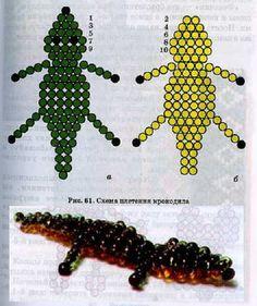 scheme crocodile weave of beads Pony Bead Crafts, Seed Bead Crafts, Seed Bead Projects, Beaded Crafts, Seed Bead Jewelry, Seed Beads, Beaded Jewelry, Zoo Crafts, Beaded Dragonfly