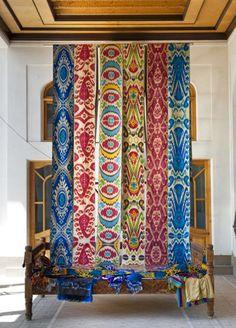 We are talking textiles on The Jungalow today!   Textile Treasury Uzbek Ikat