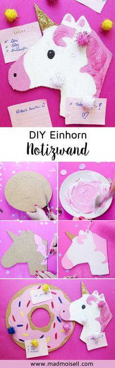 DIY EinhornPinnwand selber machen: DIY Donut Pinnwand selber machen: Eine tolle DIY Deko Idee für deinen Schreibtisch. Die Einhorn Pinnwand macht einfach super gute Laune und ist schnell selbst gemacht!