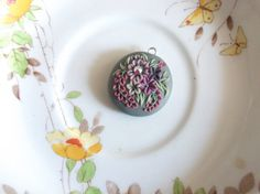 Pink Petals Pendant handmade unique polymer by BeadyizeJewellery