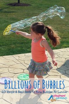 Bubbles keep my girls entertained for hours all summer long.  Check out our favorite DIY recipe, and the best tools to stock your bubble arsenal with to keep you blowing bubbles all summer long!