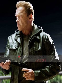 legendary superstar Arnold Schwarzenegger stylish new outstanding black leather Jacket was accessible at the famous Filmstarlook online store, 4 week easy exchange policy shipping also free.