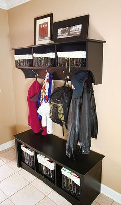foyer storage bench and shelves