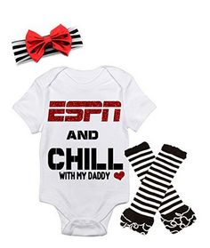 ESPN and Chill with My Daddy Onesie. Such a perfect gift for the dad to be!
