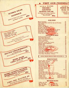 "Inside left page of a Burger Junction menu, circa early 1950s. The restaurant, located at 11702 Victory Boulevard in North Hollywood, featured: ""Television in Friendly Fiesta Room."" San Fernando Valley History Digital Library."