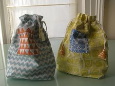 Carolyn Sansbury, Wash bags, hand printed and sewn
