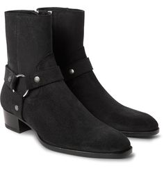<a href='http://www.mrporter.com/mens/Designers/Saint_Laurent'>Saint Laurent</a>'s 'Wyatt' boots are inspired by rugged Western styles - even the name has a certain appropriate charm. Made from black suede, this pair is finished with harness straps and set on chunky Cuban block heels that add to the appeal. Wear them with a blazer and tonal jeans to channel the label's slick verve.
