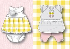 "BABY GIRL 0-24m ""Pink&Yellow Happiness"" SS13 Collection by Patricia Gato Blanco, via Behance"