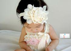 Baby girl headband newborn headband Ivory Chiffon by HappyBOWtique, $10.99