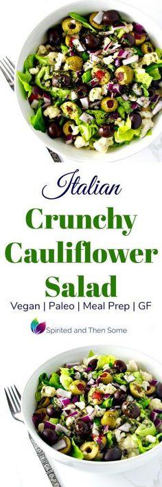 Italian Crunchy Cauliflower Salad is vegan, paleo, gluten-free, and full of oregano, parsley, basil, and garlic! Perfect for meal prep!   spiritedandthensome.com