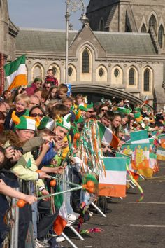 Excited Dubliners at Christ Church Cathedral Dublin waiting for the parade to start!