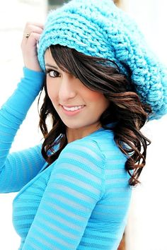 Slouchy Hat Trendy Teen Hat Bright Blue Back to School Fashion Womens Hats Chunky Crochet Hat Fall Fashion   #beanies #knitted #girls www.loveitsomuch.com