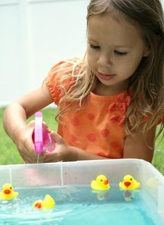 Using a squirt bottle is great for hand strength, coordination, grasp, etc. You can also use squirt bottles to water plants or spray windows. http://www.fantasticfunandlearning.com/duck-race-fine-motor-sensory-play.html?utm_term=Duck+Race+Fine+Motor+Sensory+Play