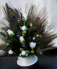 Peacock Wedding Cake Top white Green Accents by AmoreBride on Etsy, $55.00