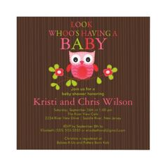 Cute Modern Owl Baby Shower Invitations by celebrateitinvites