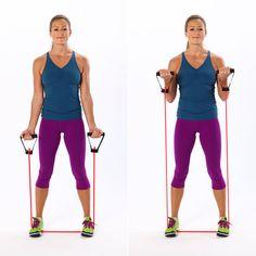 Exercícios para você fazer em casa, utilizando elástico/extensor. Confira exercícios de bíceps, tríceps, glúteo, abdominal e mais, confira!