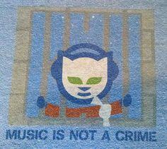 NAPSTER 2X Blue Ringer Shirt XXL Music Is Not A Crime T Tee Cool Logo Jail 90's
