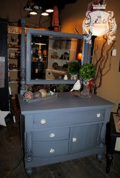 Antique dresser done in #MaisonBlanchePaint Confederate Grey with dark glaze and crystal knobs.  #Furniture #ChalkPaint #ShabbyChic $625.00