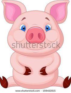Cute baby pig sitting
