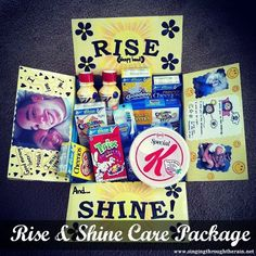 Rise and Shine Care Package great idea for college kids too (breakfast bars, cereal, instant breakfast mixes, etc) Missionary Care Packages, Deployment Care Packages, Missionary Gifts, Lds Missionaries, Cute Gifts, Diy Gifts, Homemade Gifts, Care Box, Care Care