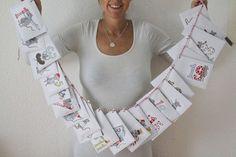 Kinder Adventskalender mit Briefumschlägen und Fotos