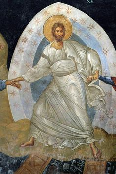 Христос. Фрагмент сошествия во ад. Фреска монастыря Хора, Константинополь. XIV в.