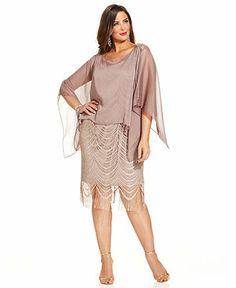 SL Fashions Plus Size Illusion Lace Blouson Dress - Dresses - Plus Sizes - Macy's