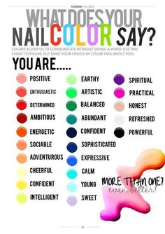 What does your nail polish color say about you? Hmmmm! It also depends what mood I'm in.