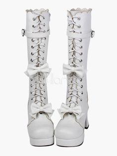 Steampunk - Sweet Lolita Chunky Heels Boots Bows Decor Shoelace Strap Buckle 3 Heel 1.2