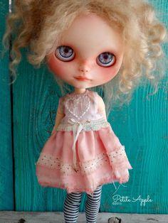 """Blythe doll outfit *Baby love"""" OOAK vintage silk embroidered dress  by marina"""