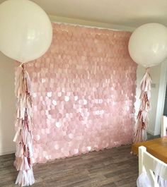 ⓟⓡⓞⓟ ⓜⓔ ⓟⓡⓔⓣⓣⓨ ➸ 💗Blush Pink Sequin Wall & Balloon Package 💗 All set up for today's birthday party - Pink Birthday Cake Ideen Party Kulissen, Festa Party, Party Props, Party Wedding, Sequin Rose, Pink Sequin, Blush Pink, Pink Glitter, 21st Birthday Decorations