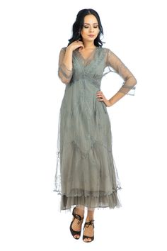 Romantic 1930s style dress. Sophia Vintage Style Party Dress in Smoke by Nataya $265.00 AT Vintagedancer.com