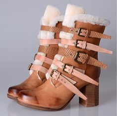 Real leather wool fur lined short suede snow boots with buckle