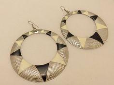 Large Silver Tone Vintage Hoops Enamel Earrings by TheEarringPlace