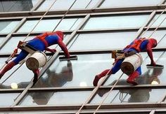 Evelina Children's Hospital in London.  As part of their contract, Evelina requires that hospital window washers dress up as superheroes while cleaning the hospital windows. Bedridden, sick children delight in seeing Superman, Spiderman and Batman dagling just beyond the glass. The window washers report the superhero visits to Evelina are the highlight of their week.
