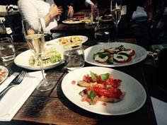 Bruschetta, caprese, calamari, Caesar salad at Piccolino Ilkley