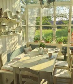 cottagecore cozycore kitchen house cottage core cozy core aesthetic soft cute happy goblincore goblin core window wooden table ulzzang chairs and drinks porch Future House, My House, Room Deco, Cottage In The Woods, Dream Apartment, Aesthetic Rooms, Cozy Aesthetic, House Goals, Dream Rooms