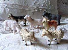 Antique Putz Christmas stick leg sheep goat by MyFrenchAntiqueShop