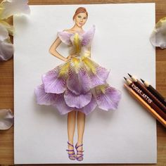 Armenian Fashion Illustrator Creates Stunning Dresses From Everyday Objects Illustration Blume, Illustration Mode, Arte Fashion, Floral Fashion, Fashion Design Drawings, Fashion Sketches, Fashion Sketchbook, Fashion Illustration Dresses, Creative Artwork