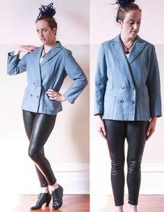 VTG 80's Blue Wool Blend WOMEN'S BLAZER // Double Breasted by sideshowsam, $30.00
