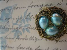 Tiny wire/bead birds nest~ from Just Something I Made ~ love it!